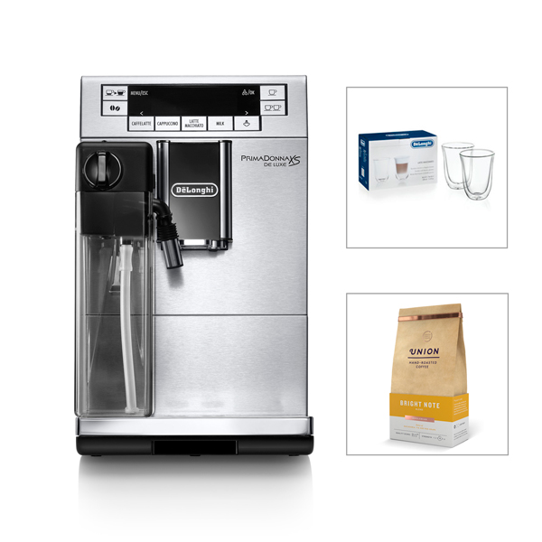 Delonghi PrimaDonna XS Bean to Cup Machine with Glass Set and Coffee Beans No Colour