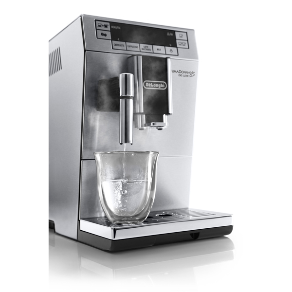 delonghi primadonna xs bean to cup machine with glass set. Black Bedroom Furniture Sets. Home Design Ideas