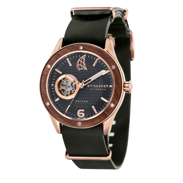 Spinnaker Gent's Sorrento Automatic with Open Heart and Leather Nato Strap Black