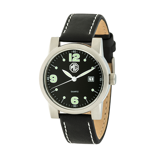 MG Gent's Watch with Genuine Leather Strap Black