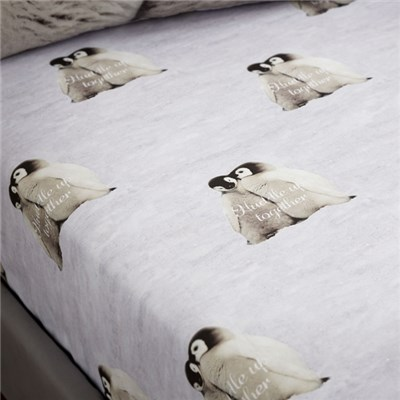 Snuggly Penguins King Size Fitted Sheet
