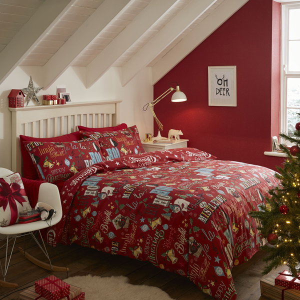 Brushed Happy Christmas Single Size Quilt Set Red
