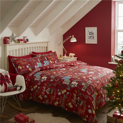 Brushed Happy Christmas King Size Set