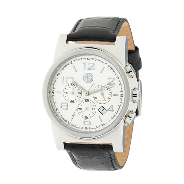 MG Gent's Chronograph Watch with Genuine Leather Strap Black