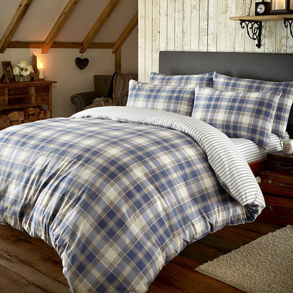 Brushed Tartan Check Double Size Quilt Set Navy
