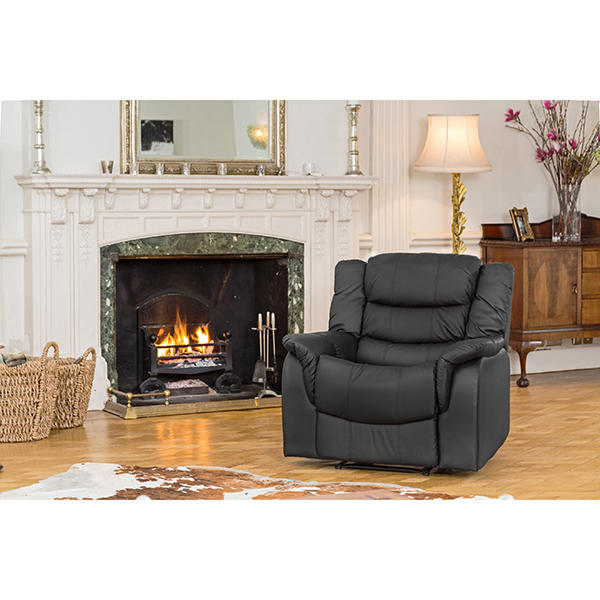 Lincoln Bonded Leather Manual Recliner Armchair Black