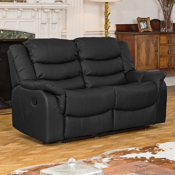 Lincoln Bonded Leather Two Seater Manual Recliner Sofa Black