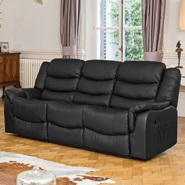 Lincoln Bonded Leather Three Seater Manual Recliner Sofa Black