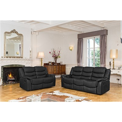 Lincoln Bonded Leather Two + Three Seater Manual Recliner Sofa Suite