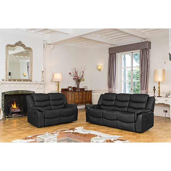 Lincoln Bonded Leather Two + Three Seater Manual Recliner Sofa Suite Black