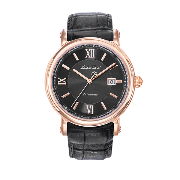 Mathey-Tissot Gent's Renaissance PVD Plated Automatic Watch with Genuine Leather Strap Black