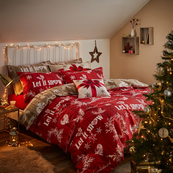 Christmas Garland King Size Quilt Set Red/Natural
