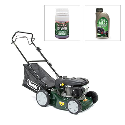 Webb Classic 41cm Self Propelled Lawnmower with Engine Oil and Fuel Additive