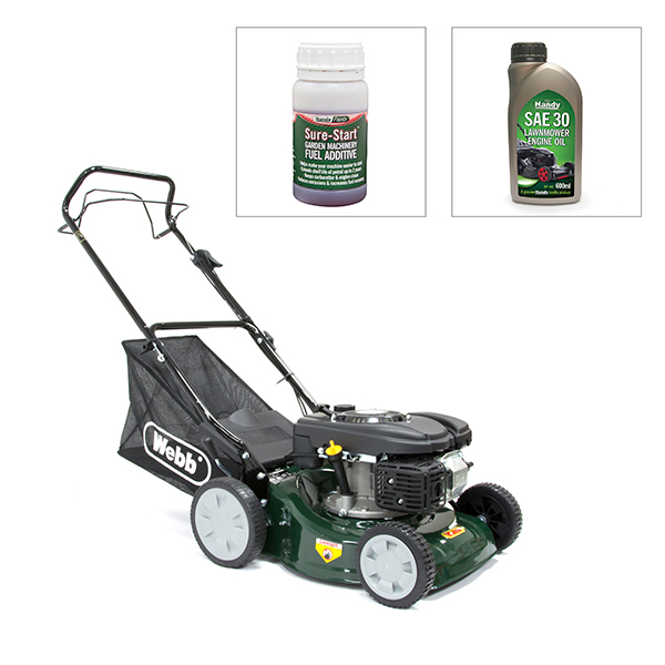 Webb classic 41cm 16in self propelled lawnmower with for Best motor oil for lawn mowers