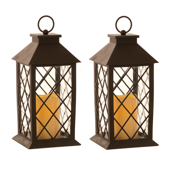 BOGOF Lantern with LED Candle 32cm Black