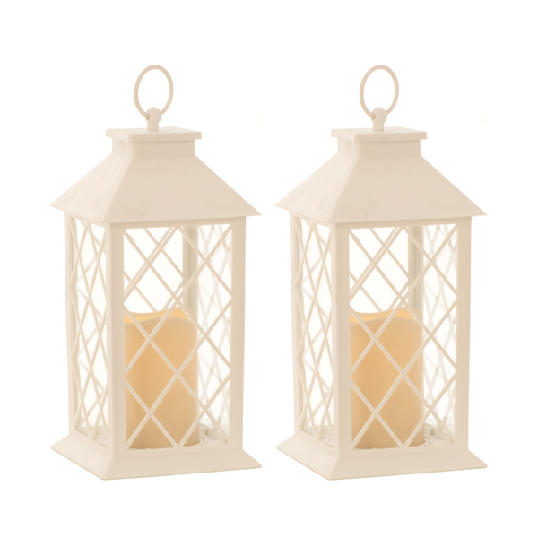 Lantern with LED Candle 32cm (Twin Pack) White