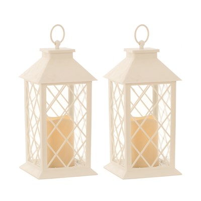 Lantern with LED Candle 32cm (Twin Pack)