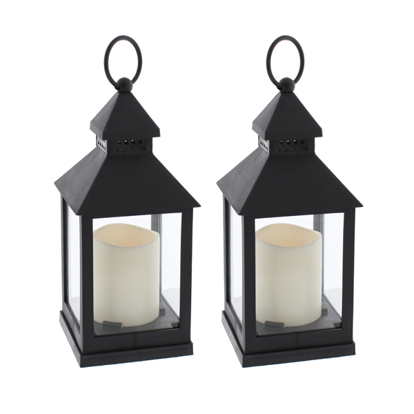 Black Lantern with LED Candle 24cm (Twin Pack) Black