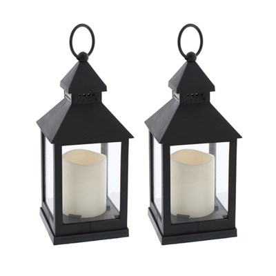 Black Lantern with LED Candle 24cm (Twin Pack)