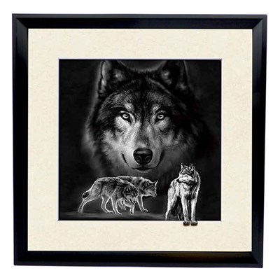 Black and White Wolves 5D Illusion Framed Art 40cm x 40cm