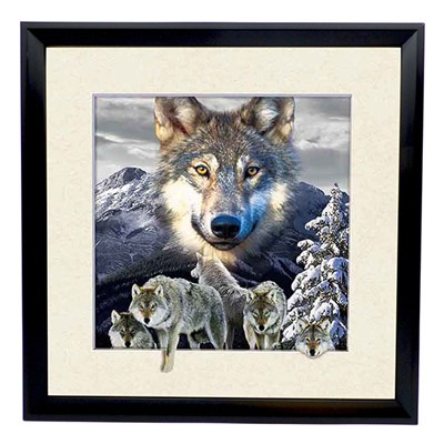 Wolf Mountain 5D Illusion Framed Art 40cm x 40cm