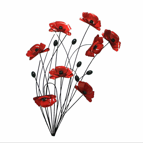 Red Poppies with Black Stems Metal Wall Art 64 x 64cm No Colour