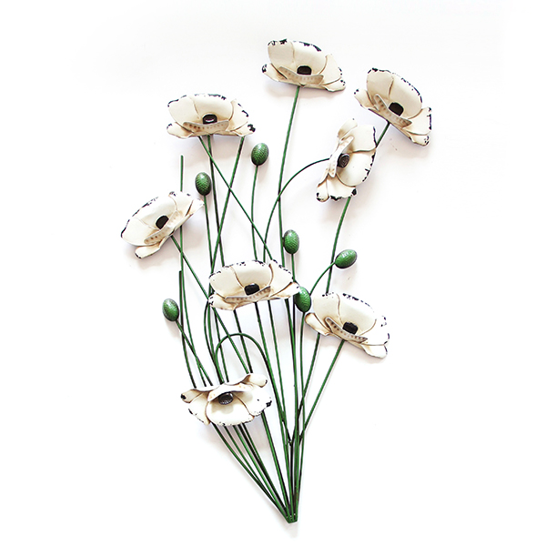 Cream Poppies with Green Stems Wood and Metal Wall Art 64 x 64cm No Colour