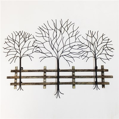 Trees and Fence Metal and Wood Wall Art 55 x 75cm