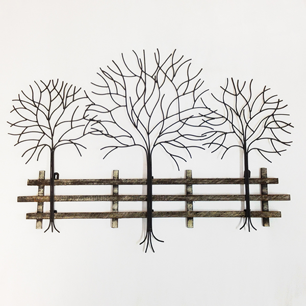 Trees and Fence Metal and Wood Wall Art 55 x 75cm No Colour
