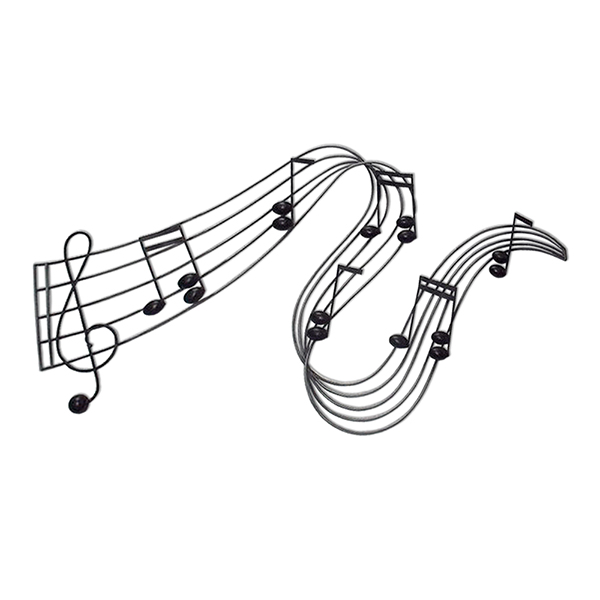 Black Waved Musical Notes Metal Wall Art 77.5 x 40.5cm No Colour