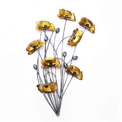 Gold Poppies with Silver Stems Metal Wall Art 64 x 64cm