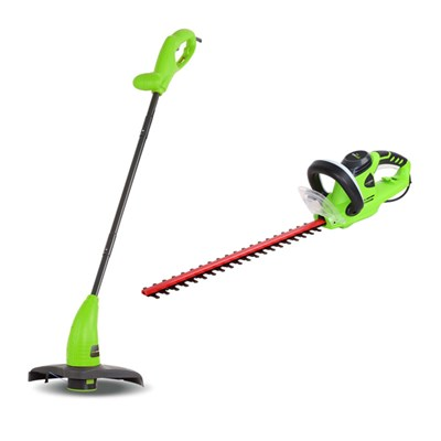 Greenworks Hedge Cutter and Line Trimmer Kit