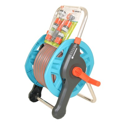 Gardena 20m Hose Reel Set with Classic Spray Nozzle & Coupling Set