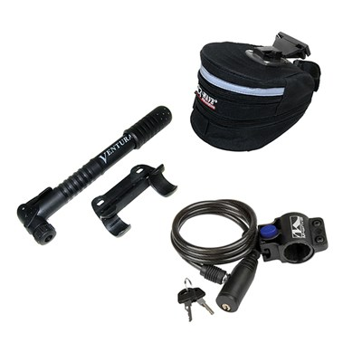 Bicycle Pump, Lock & Seat Bag Starter Bundle