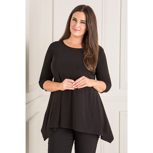 Reflections Plain Dip Hem Tunic with 3/4 Sleeves Black