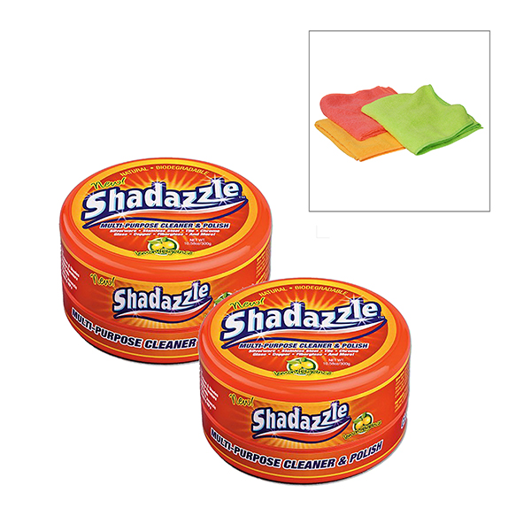 Two Tubs of Shadazzle with 3 FREE Microfibre Cloths No Colour
