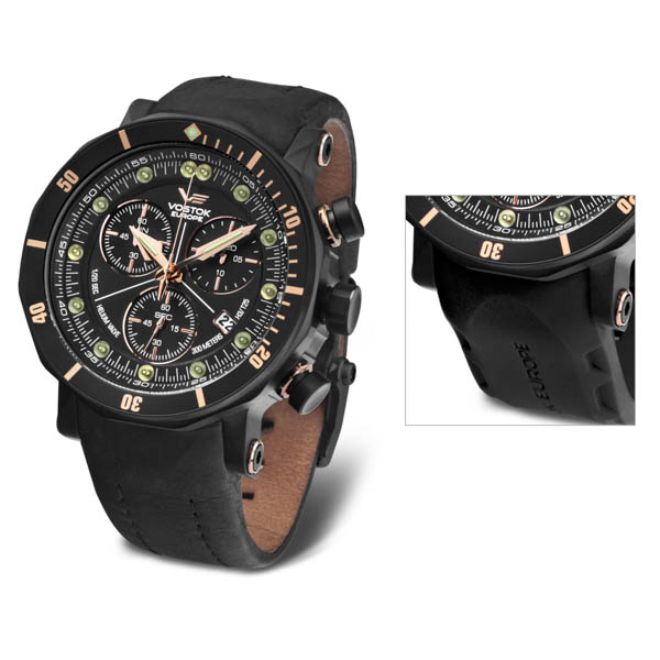 Image of Vostok Europe Gents Lunokhod 2 Chronograph Watch with PVD Plated Case & Extra Strap