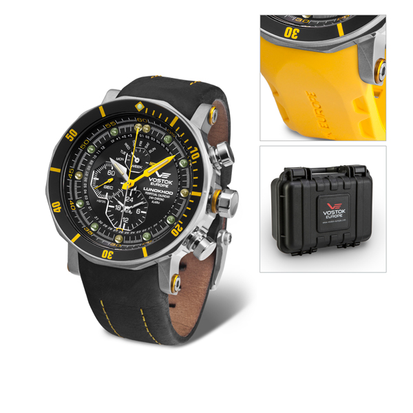 Vostok Europe Gent's Lunokhod 2 Chronograph Watch with Interchangeable Strap and Dry Box Yellow