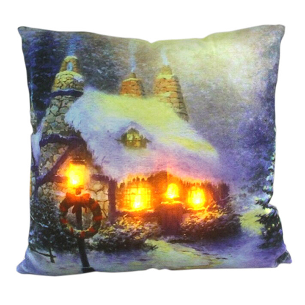 Cottage with Wreath LED Cushion No Colour