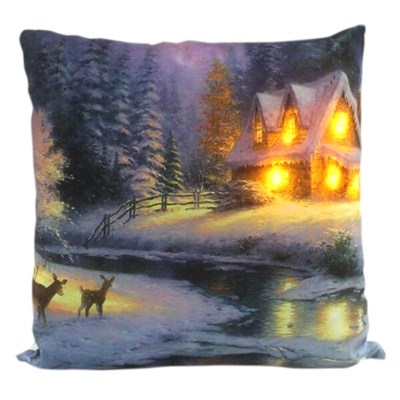 House with Deers LED Cushion