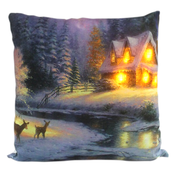 House with Deers LED Cushion No Colour
