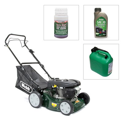 Webb Classic 41cm (16in) Self Propelled Rotary Lawnmower with 600ml Engine Oil, Sure Start Fuel Additive & 5 Litre Green Fuel Can