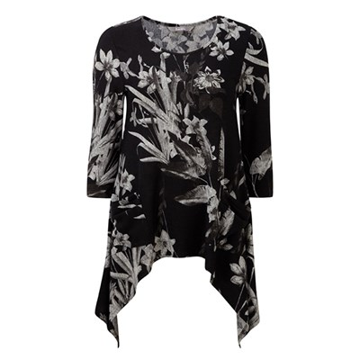 Lavitta Nottinghill Leaf Print Hanky Hem Top 26in