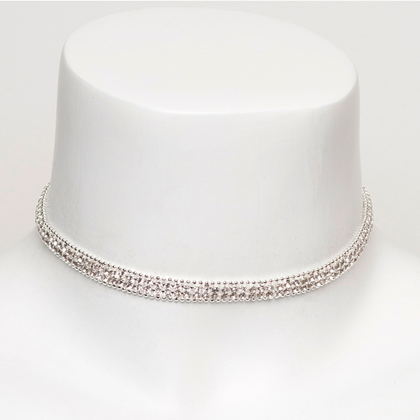 Diamante Effect Choker Necklace Silver