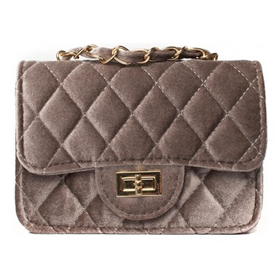 Mink Quilted Velour Chain Detail Bag