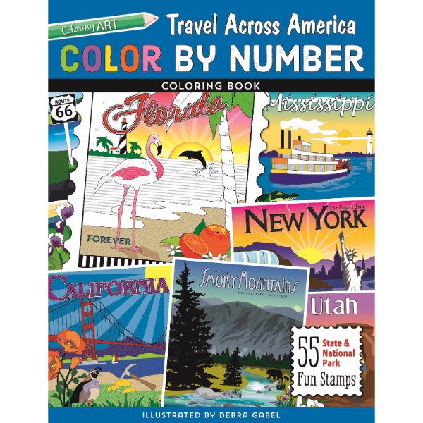 ISBN 9781617455858 Color by Number Travel Across America Coloring Book No Colour