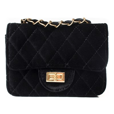 Black Quilted Velour Chain Detail Bag