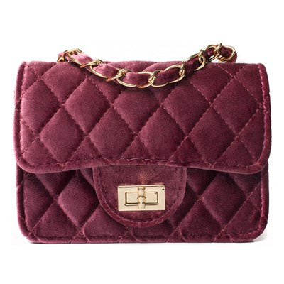 Wine Quilted Velour Chain Detail Bag