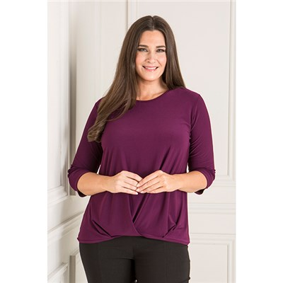 Reflections Pleat Front Top with 3/4 Sleeves