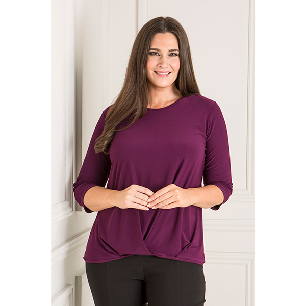 Reflections Pleat Front Top with 3/4 Sleeves Purple